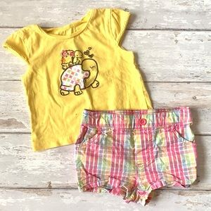 Carters 12m Shorts Outfit Plaid Pink Yellow Turtle